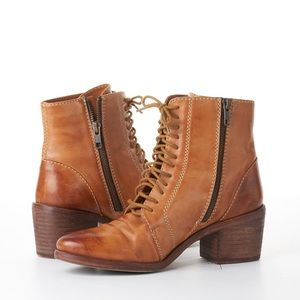 KDB Kelsi Dagger Leather Brown Lace Up Ankle Boots